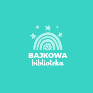 Logotyp Bajkowej Biblioteki. Nad napisem z nazwą znajduje się symboliczna tęcza, a nad nią gwiazdki. Tło jest w morsko zielonym kolorze