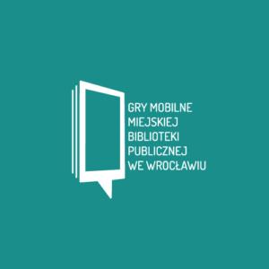 Logo Gier Miejskich Biblioteki Publicznej na zielonym tle