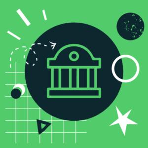 O instytucji. Zielony kafel z symbolem budynku