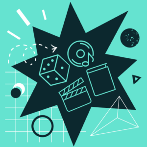 Graficzne symbole zbiorów: książka, klaps filmowy, płyta muzyczna i kostka do gry