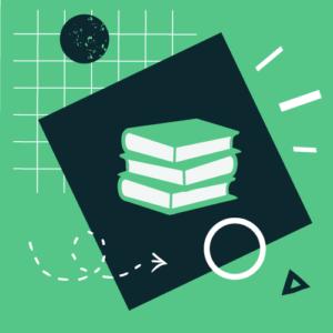 na zielonym tle czarny kwadrat, na nim 3 ułożone na sobie, zielone książki. Wokół kwadratu biało-czarne elementy graficzne w kształcie trójkątów i kół