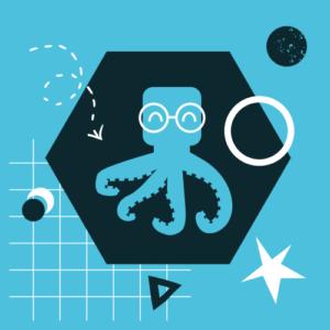 na niebieskim tle czarny hexagon a na nim niebieska ośmiornica w białych okularach, wokół hexagonu biało-czarne elementy graficzne w kształcie trójkątów, kół i gwiazd