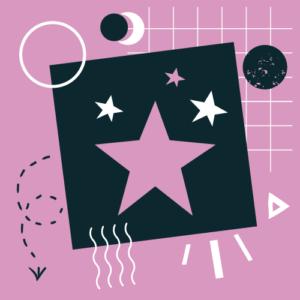 na wrzosowym tle czarny kwadrat a na nim wrzosowa duza gwiazda i 3 mniejsze gwiazdki, wokół kwadratu biało-czarne elementy graficzne w kształcie trójkątów i kół