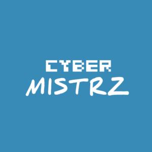 Logo projektu CyberMistrz. Biały napis na niebieskim tle