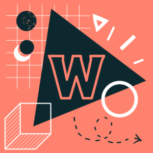 """Geometric figures icons. Letter """"W"""" on the triangle"""